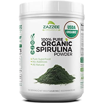 Zazzee USDA Organic Spirulina Powder 2.2 Pounds (1 KG), 303 Servings, 100% Pure and Non-Irradiated, Vegan, All-Natural, and Non-GMO, Mess-Free Wide Mouth Container, Fresh Smell and Neutral Taste