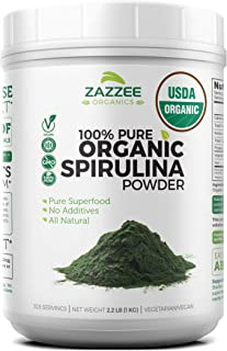 Zazzee USDA Organic Spirulina Powder 2.2 Pounds (1 KG), 303 Servings, 100% Pure and Non-Irradiated, Vegan, All-Natural, an...