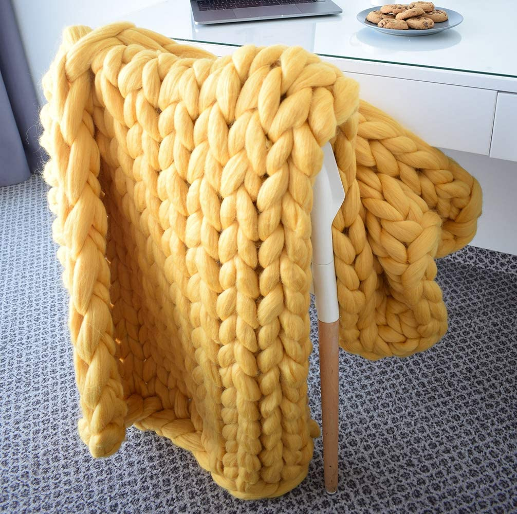 EASTSURE At the price of surprise Chunky Knit Bombing free shipping Blanket Bulky Sofa Bed Pet Hand-Made Throw