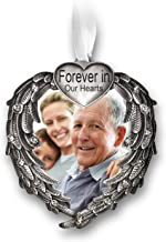 BANBERRY DESIGNS Forever in Our Hearts Christmas Ornament - Silver Heart Ornaments with Heart Shaped Angel Wings - Hanging Memorial Ornament - in Memory Christmas Ornament