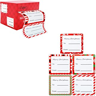 Jumbo Christmas Gift Tag Stickers Modern Red, Green, White, Silver, and Gold Xmas Designs - Looks Great on Gifts Presents, Wrapping Paper and Gift Bags. (Designs 2, 96 Count)