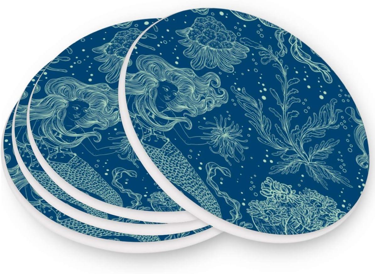visesunny SEAL limited product Vintage Mermaid Blue Bombing new work Marine Drink Print Floral Coaster
