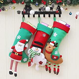 Hanging Christmas Decoration Christmas Candy Bags Christmas Decorative Items Santa Claus Christmas Stockings,Durability (Color : Three-Piece Suit, Size : 59CM*24CM)