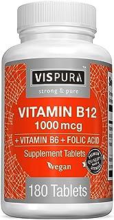 Vitamin B12 1000 mcg Methylcobalamin + B6/Folic Acid, 180 Vegan Tablets, Best Supplement to Increase Energy, Enhance Mood,...