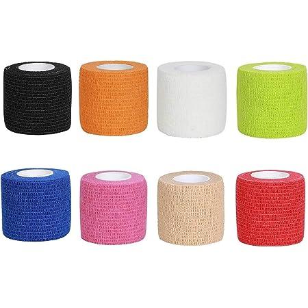 Benda Elastica Coesiva, 8 Rotoli in 8 Colori, 5 cm x 4,5 m, Adesiva Rotolo Flessibile Fascia in Tessuto Non Tessuto Coesa, Sportivo per Mani, Piedi, Ginocchia