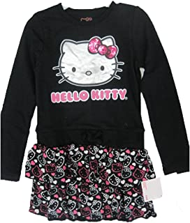 bdbb24fe6ada Hello Kitty Little Girls Black Glittery Kitty Face Layered Dress 4-6X