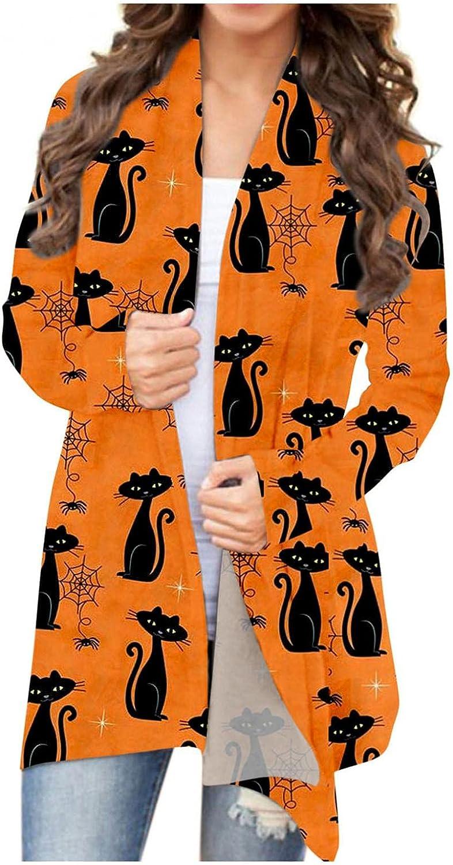 Halloween Shirts for Women Open Front Sweaters Long Sleeve Funny Pumpkin Black Cat Ghost Cardigan Coat