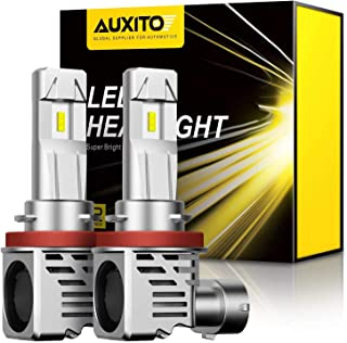 AUXITO H11 H8 H9 LED Headlight Bulbs 12000lm Per Set 6500K Cool White Wireless Headlights Conversion Kit, Pack of 2