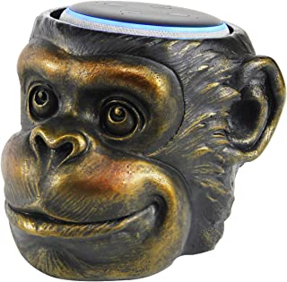 Monkey Statue Crafted - Smart Speaker Stand Holder for Echo Dot 3rd Generation Speakers Holder Best Gift Idea for Smart Home, Gold