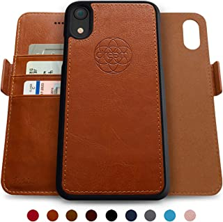 Dreem Fibonacci 2-in-1 Wallet-Case for iPhone XR, Magnetic Detachable Shock-Proof TPU Slim-Case, Allows Wireless Charging, RFID Protection, 2-Way Stand, Luxury Vegan Leather, Gift-Box - Caramel