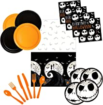 Nightmare Before Christmas Party Supplies Tableware Bundle Pack For 16 Guests - Includes 16 Dinner Plates, 16 Dessert Plates, 16 Dinner Napkins, 16 Sets of Plastic Cutlery and 1 Plastic Tablecover