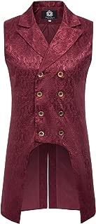 PJ PAUL JONES Mens Gothic Vest Waistcoat Steampunk Victorian Tailcoat S Wine