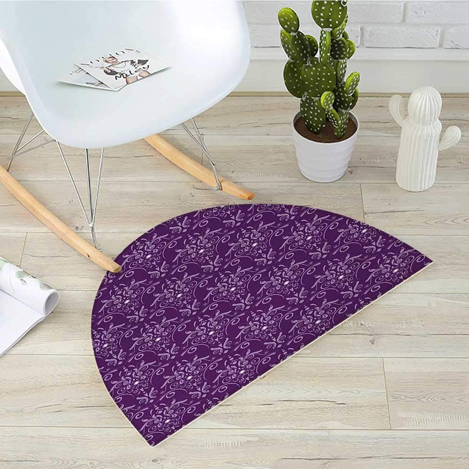 Eggplant Semicircle Doormat Damask Pattern with Symmetrical Abstract Leaves and Swirls Forming Unified Look Halfmoon doormats H 43.3  xD 64.9  Purple purplec