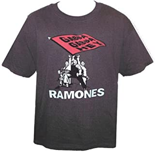 The Ramones Brownish-Green T-Shirt - Gabba Gabba Hey Logo on Flag with Cartoon Characters & Logo Below, Lg.