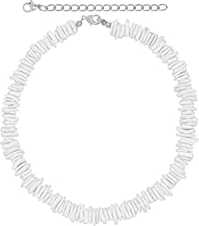 VSCO Girl Puka Shell Necklace Choker, White Hawaiian Clam Chip Surfer Necklace for Men and Women, Trendy Summer Beach Shell Necklace for Teen Girls and Boys, Beachy Beaded Seashell Chokers Necklaces