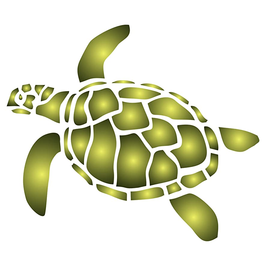 Turtle Stencil - 5.5 x 4.5 inch (M) - Reusable Sea Ocean Nautical Seashore Reef Stencils for Painting - Use on Paper Projects Walls Floors Fabric Furniture Glass Wood etc.