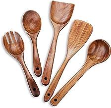 SKAFA Sheesham Wood Cooking Spoon, Non-Stick, Set of 5, Brown