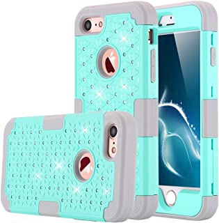 iPhone 7 Case, LONTECT Hybrid Heavy Duty Shockproof Diamond Studded Bling Rhinestone Case Dual Layer [Hard PC+ Soft Silicone] Impact Protection for Apple iPhone 7 - Teal/Grey
