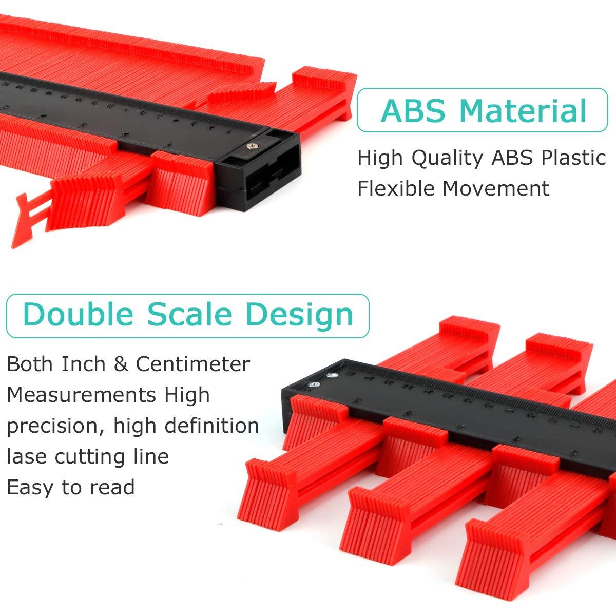Makerfire Medidor de contorno de plástico calibre de perfil de 10 pulgadas regla de medición duplicador de contorno para medición precisa herramienta de marcado de madera laminada-Rojo: Amazon.es: Bricolaje y herramientas