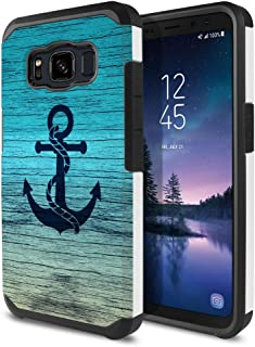FINCIBO Case Compatible with Samsung Galaxy S8 Active G892A 5.8 inch, Dual Layer Hard Back Hybrid Protector Case Cover Anti Shock TPU for Galaxy S8 Active (NOT FIT S8/ S8 Plus) - Blue Anchor Wood