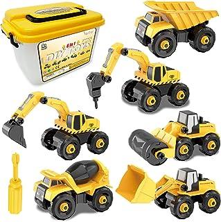 Desmontar y Ensamblarde Vehículo de Construcciones Juguete Excavadora, 6 Camiones en 1 con herramientas para Niño y Niña d...