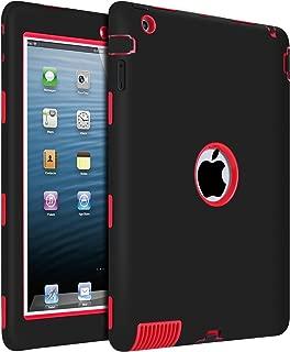 iPad 2 Case, iPad 3 Case, iPad 4 Case, BENTOBEN Heavy Duty Rugged Shock-Absorption/High Impact Resistant Hybrid Three Layer Armor Full Body Protective Case Cover for iPad 2/3/4 Retina - Black/Red