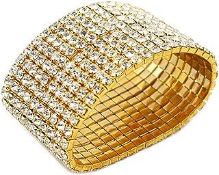 Ladies Rhinestone Bracelet Stretch Silver Tone Womens Elastic Bracelet Bangles Small Wrist Gold Tone