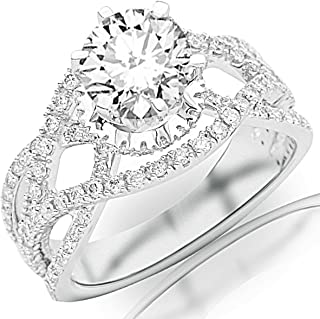 2.75 Carat 14K White Gold Eternity Love Twisting Split Shank Pave-Set Round Diamond Ring with a 2 Carat Moissanite Center