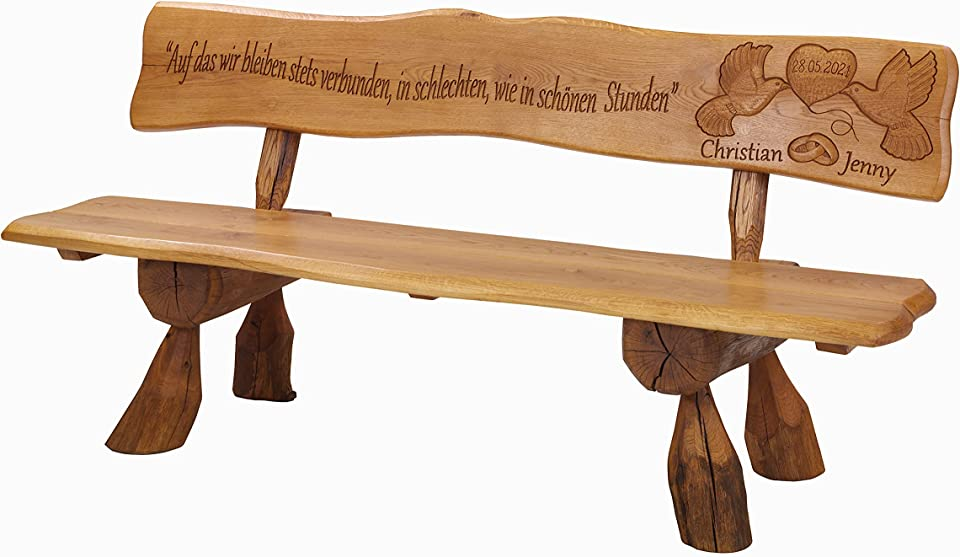 Holzbank aus Eichenholz Hochzeitbank mit individueller Aufschrift Hochzeitsgeschenk