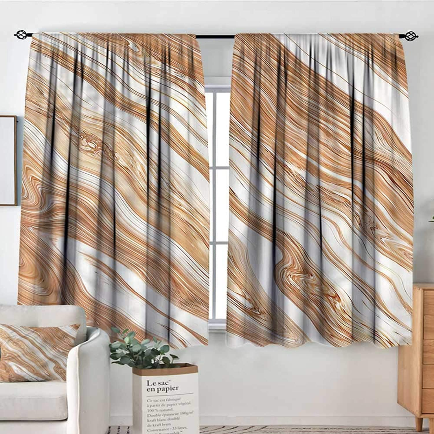 Marble,2 Curtain Panes Classic Stylized Pattern 42 X63  Drapes for Iving Room