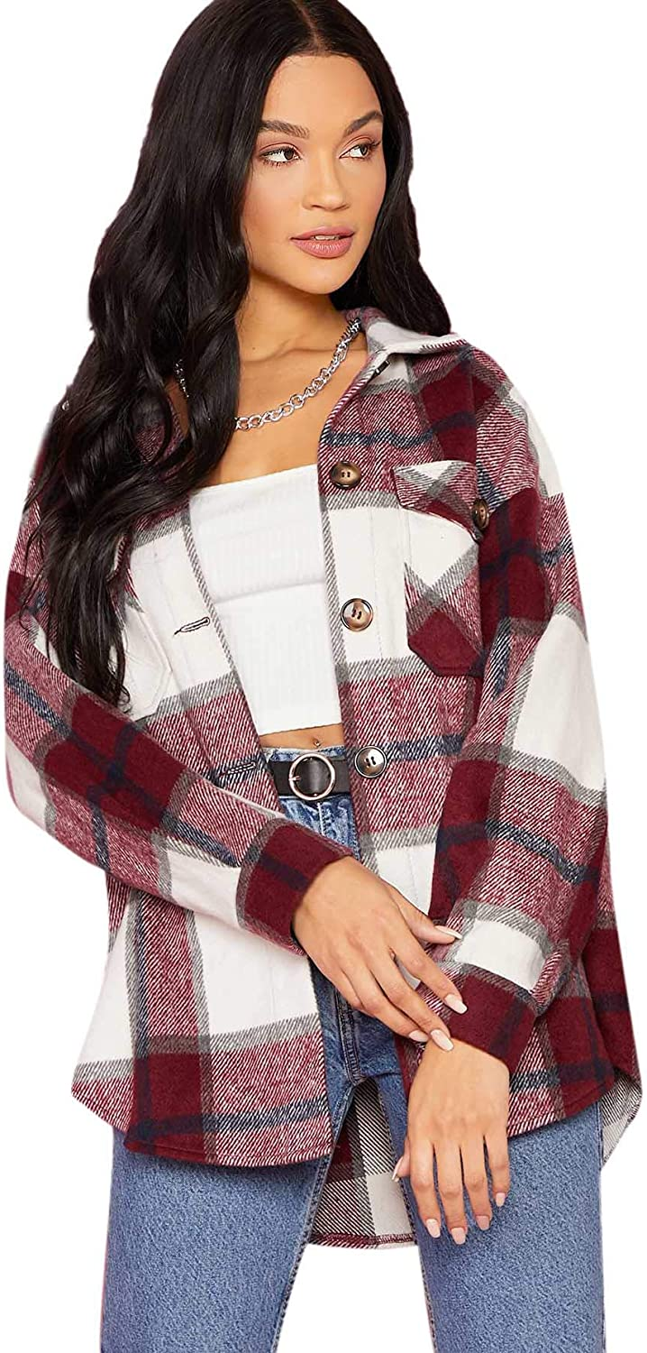 Verdusa Women's Button Down Long Sleeve Jacksonville Mall Pocketed Plaid We OFFer at cheap prices Jacket Co