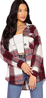 Verdusa Women's Button Down Long Sleeve Pocketed Plaid Jacket Coat