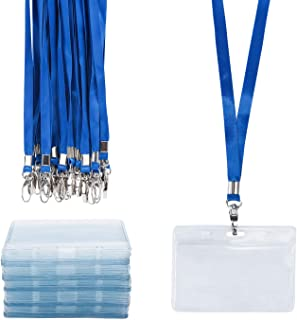 Lanyard with ID Holder 50 Pack, Segarty Student Name Tags, Waterproof Horizontal ID Badge Holder Bulk, Standard Cards Protector for Party Favors, School, Workshop Worker, Conference, Business, Fair