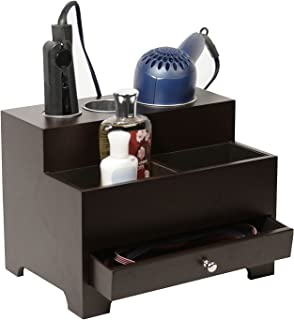 Stock Your Home Hair Care Organizer - Blow Dryer Holder - Hair Styling Station - Bathroom Vanity Countertop Organizer for Curling Iron, Flat Iron, Hair Tools and Beauty Accessories, Dark Brown