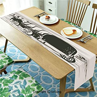 Western Table runner for Farmhouse Dining Coffee Table Decorative,Old Traditional Wagon Wild West Prairies Pioneer on Horse Transportation Cart Decorative 14