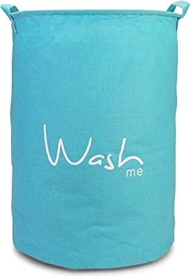 BUCKETLIST® 'Wash Me' Printed - Laundry Basket with Lid, Wash Me' European Pattern Cotton Round Laundry Basket (Blue), European Pattern - Folding Round Laundry Hamper (Blue)