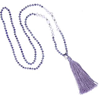 Long Tassel Necklace Handmade Shell Pearl Crystal Beads Necklace for Women
