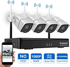 $179 Get [Newest] Wireless Security Camera System, Firstrend 8CH 1080P Wireless NVR System with 4pcs 1.3MP IP Security Camera with 65ft Night Vision and Easy Remote View,P2P CCTV Camera System(No Hard Drive)