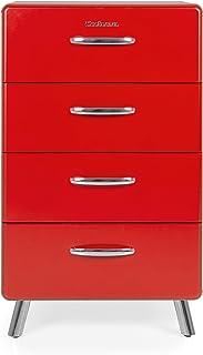 Tenzo COBRA Designer Chiffonnier (L 56) 4 tiroirs, Panneaux de Particules/MDF, Rouge, 56x43x92 cm
