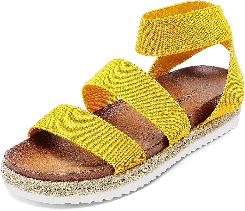 DREAM PAIRS Women's Open Toe Ankle Strap Espadrille Flatform Platform Wedge Sandals