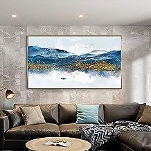 Handgeschilderd Olieverfschilderij - Abstract Blauw Modern 100% Handgeschilderd Landschapsschilderij Paletmes Textuur Goud...