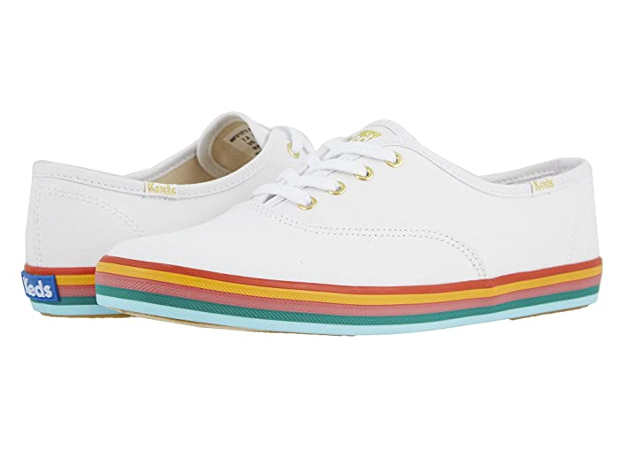 60s Shoes, Boots Keds Champion Rainbow Foxing WhiteMulti Womens Shoes $55.81 AT vintagedancer.com