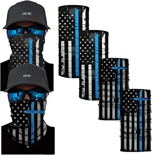 AWUWE 4 Pcs US Flag Blue Line Face Mask Neck Gaiter Seamless Bandana Scarf Headbands Balaclava Headwear Seamless Face Cover Blue Mixed