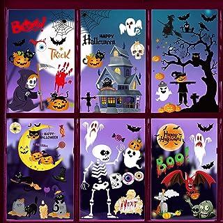 Halloween raamstickers, 6 stuks Halloween decoratieve stickers, Halloween plakafbeeldingen pompoen schedel vleermuis spinn...