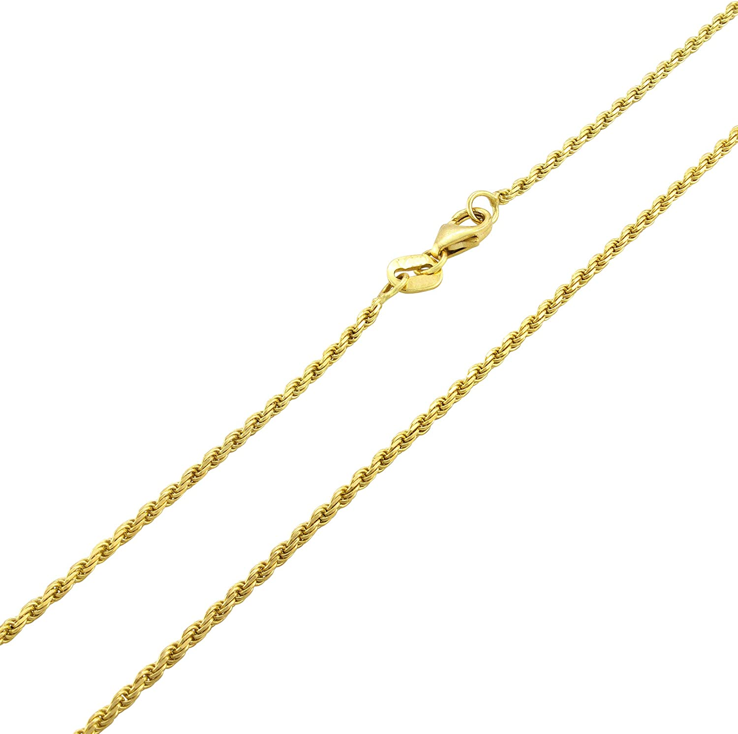 Nuragold 10k Yellow Gold 2mm Rope Chain Pendant Necklace, Womens Mens Jewelry 14