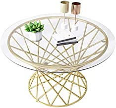 Round Clear Glass Coffee Table Modern Side Table with Metal Wrought Iron Frame Living Room Guest Reception Room Table (Gol...