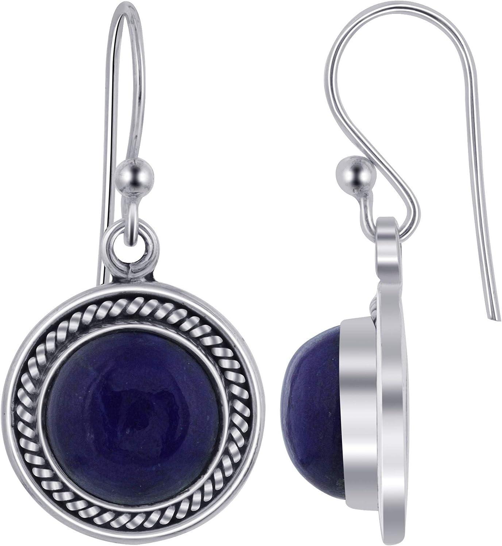 Natural Blue Lapis Gemstone 925 Sterling Silver Jumkas Earring