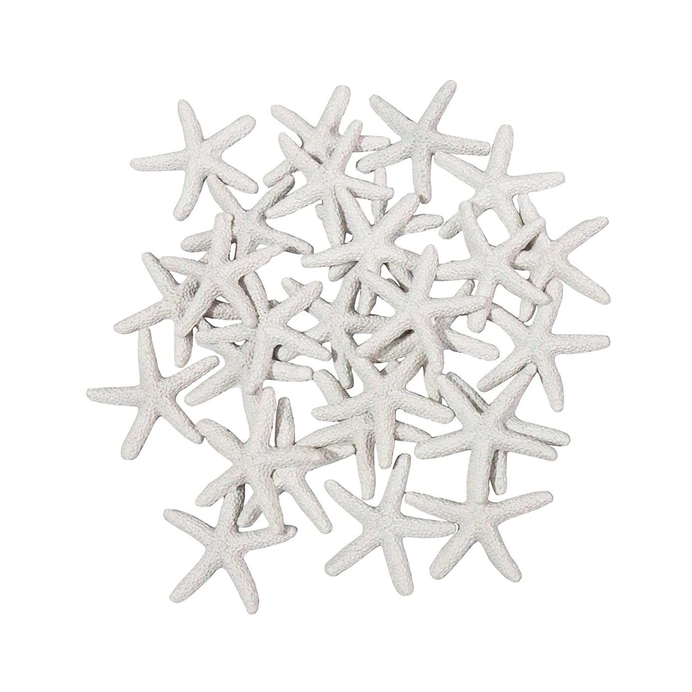 LJY 25 Pieces White Resin Pencil Finger Starfish for Wedding Decor, Home Decor and Craft Project, 2.3 Inches