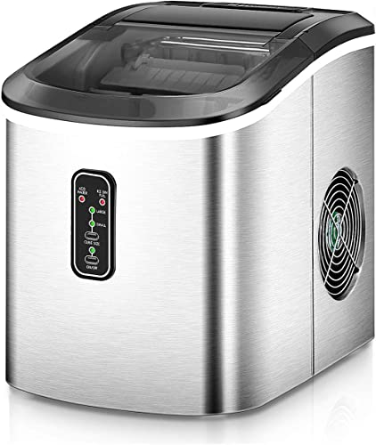 Euhomy Ice Maker Machine Countertop, Makes 26 lbs Ice in 24 hrs-Ice Cubes Ready in 8 Mins, Compact&Lightweight Ice Ma...