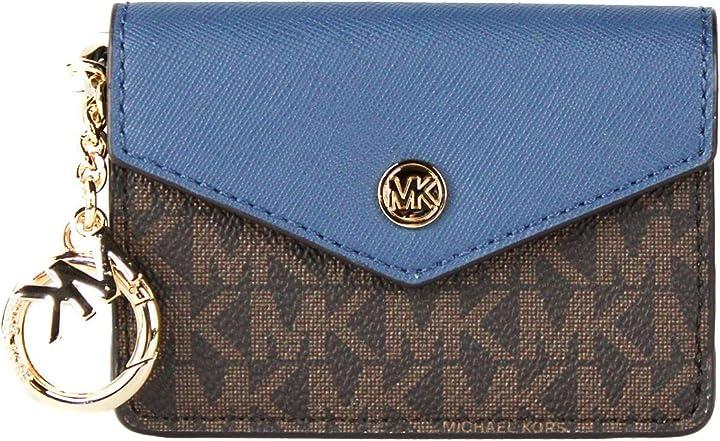 Borsa michael kors kala keychain card case brown mk signature pvc dark chambray blue B08R77N57N